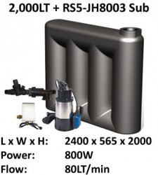 2000 LT S-Line Super Slimline Water Tank with Submersible Pump